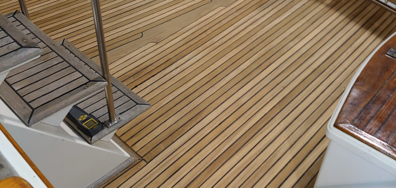 Teak Deck Service for a 1986 Grand Banks Motor Yacht